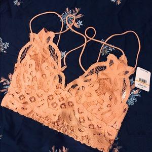 Free People crop top lace NWT light orange